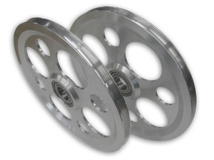 14' ALUMINUM ULTRA-LIGHT SHEAVE, ROUND GROOVE, WEIGHT REDUCTION HOLES WITH BEARING (14-AR-SPEC)
